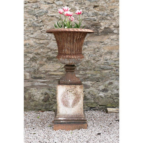 Cast Iron Urn on Terracotta Plinth