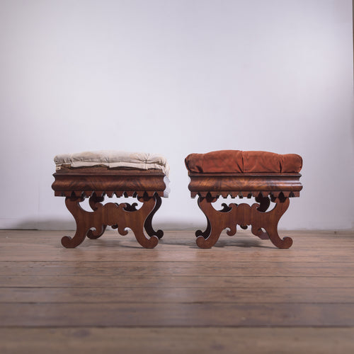 A Pair of Regency Period Mahogany and Upholstered Footstools