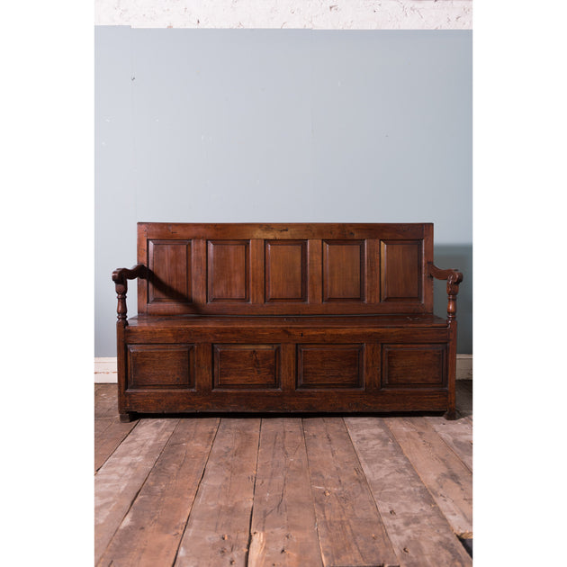 Antique Oak Box Settle