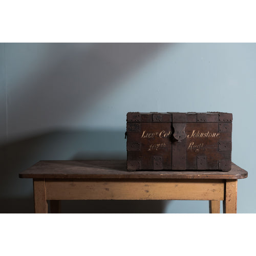 Iron-Bound Oak Campaign Chest or Strong Box