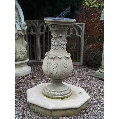 cast stone georgian style sundial base colum on plinth with carved acanthus leaf details