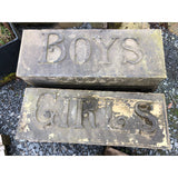 Carved Stone Boys & Girls School Entrance Signs