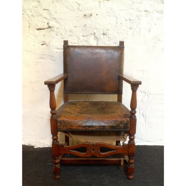 Yew wood and leather chairs