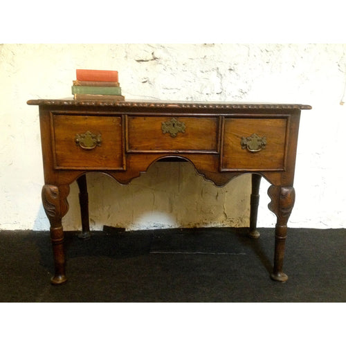 queen anne period oak and fruitwood desk