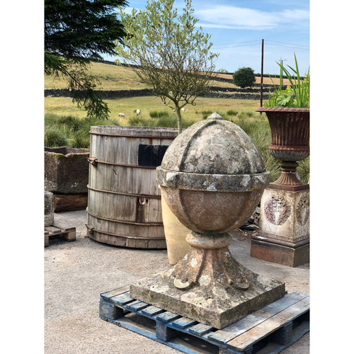 Large 19th Century Antique Cast Stone Ball Finial.