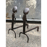 A pair of Early 18th Century Antique Steel Fire-Dogs or Andirons