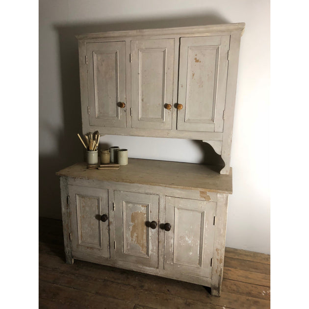 Antique rustic painted pine kitchen dresser, decorative antiques