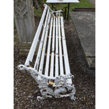 A reclaimed cast iron Furness Railway bench