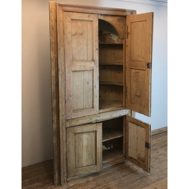 Pine Barrel Backed Georgian Corner Cupboard