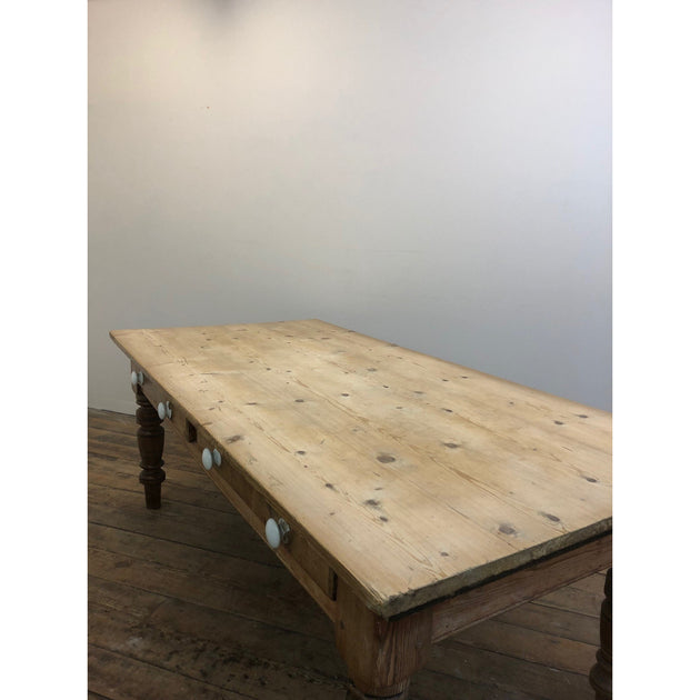 Pine Farmhouse Table with Scrubbed Top