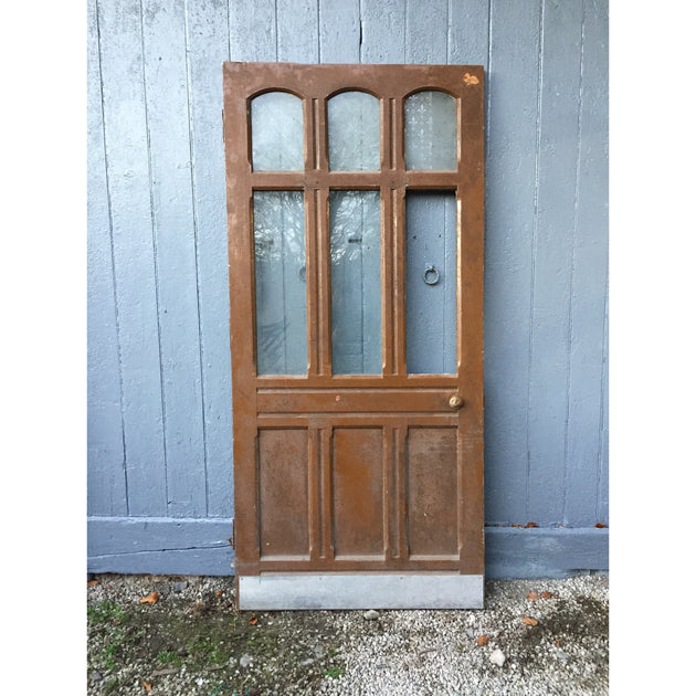 Large glazed pitch pine door