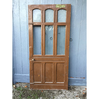 panneled pitch pine galzed door, victorian door in original paint
