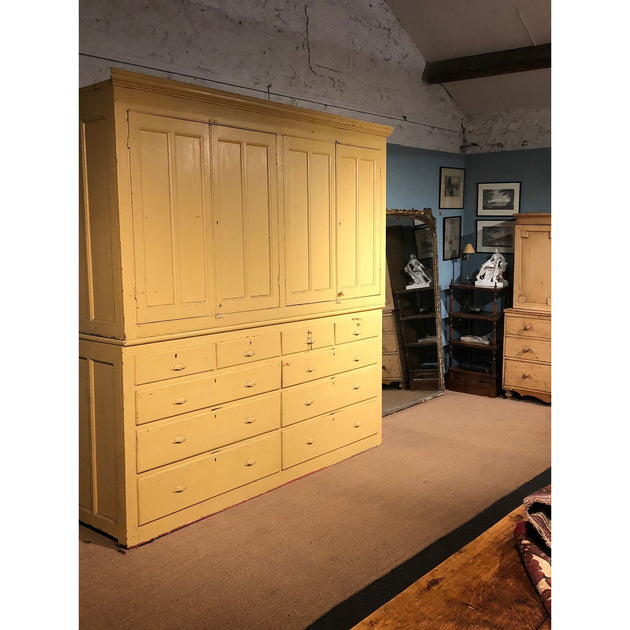 Large Antique Painted Pine House Keepers Cupboard