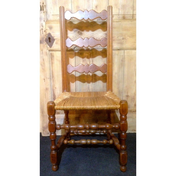 set of fruitwood rush seated antique country chairs