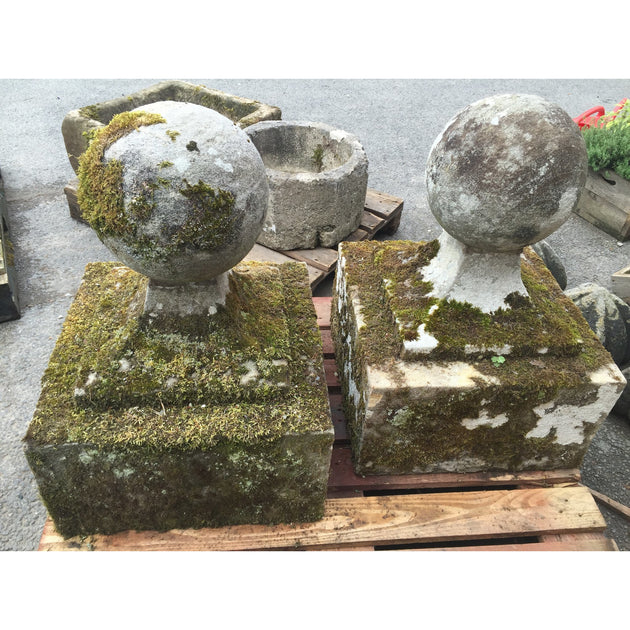 Reclaimed carved stone ball finials, salvaged garden antiques