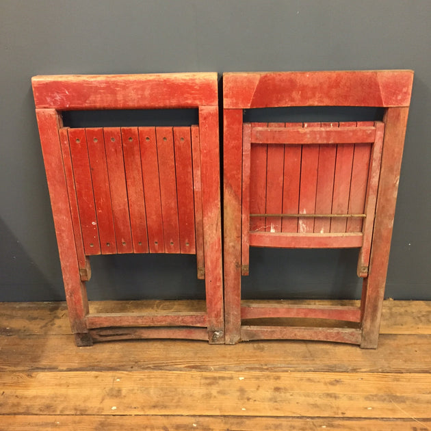Pair of painted folding wooden chairs