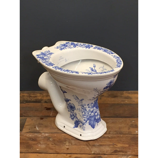 blue and white loo bowl / toilet pan