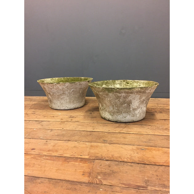 pair of concrete garden planters willy guhl style