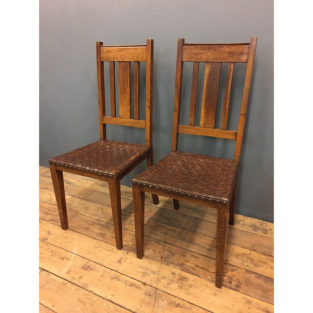 Pair of Oak Arts and Crafts Chairs
