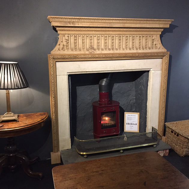 reclaimed antique oak and bath stone chimney piece fire surround