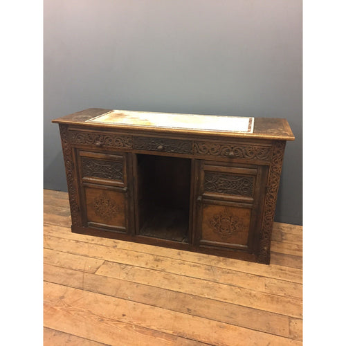 carved antique sideboard early oak marble topped
