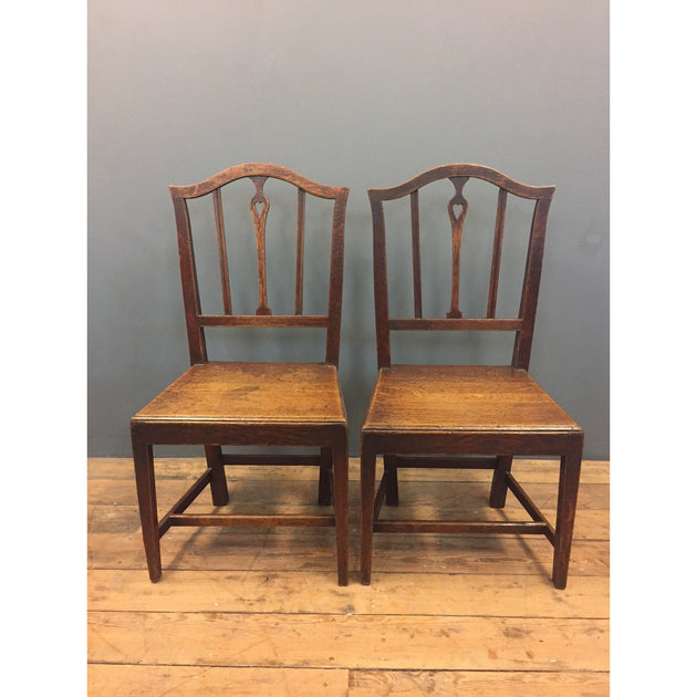 antique oak country chairs heart pierced back splat