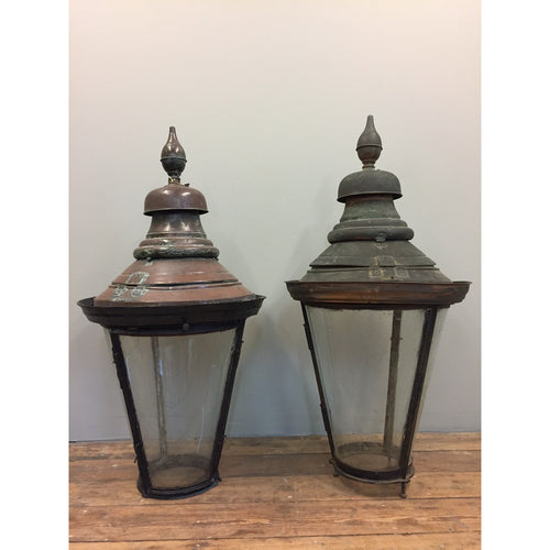 larege antique copper lanterns, pier top copper lantern