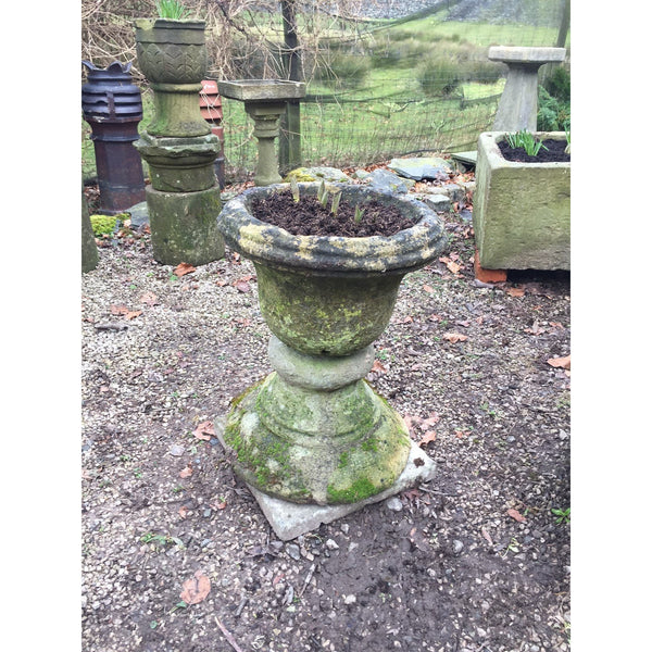 reclaimed stone urn, garden antiques, salvaged garden urn carved stone