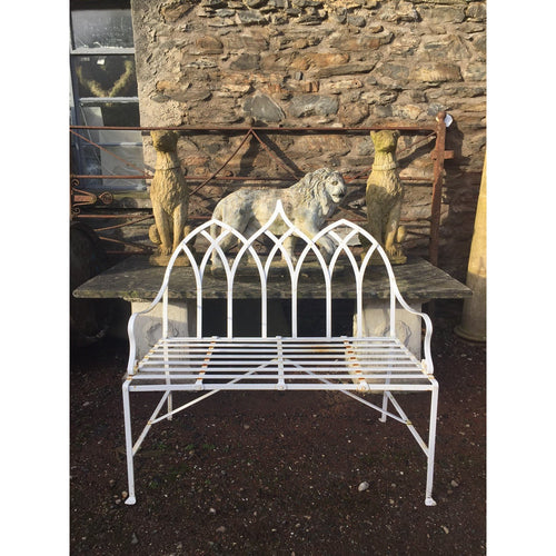 Strapwork garden bench handmade in england, wrought iron gothic bench