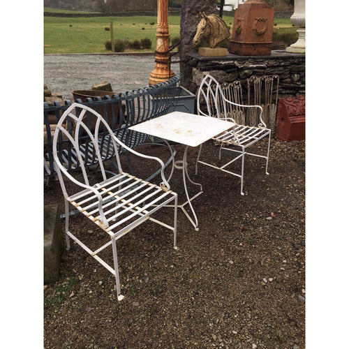 strapwork gothic wrought iron garden chairs, terracotta urns, garden antiques and seating