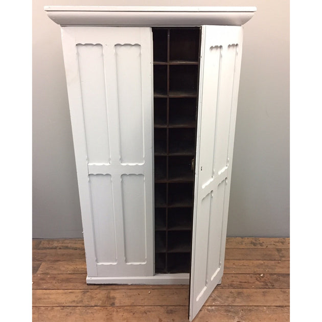 Painted pine cupboard with pigeonholes