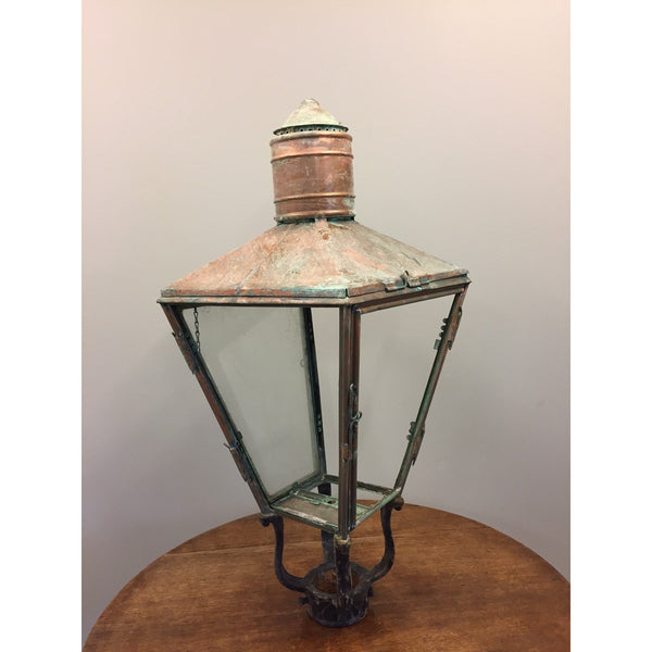 antique copper street lantern top verdigris patina