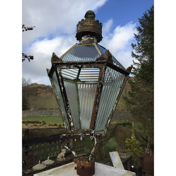 reclaimed antique street lantern, painted copper, uk architectural salvage