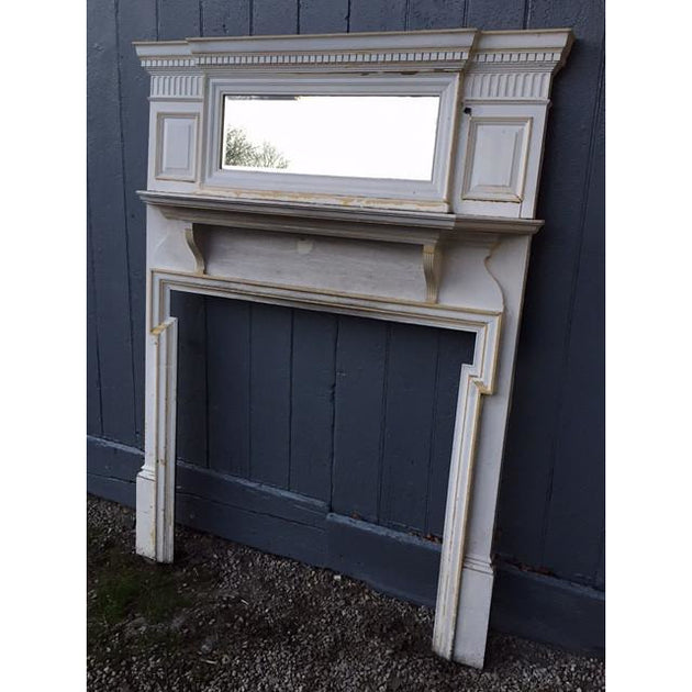 A Late Georgian Painted Pine Over-mantle Fire Surround
