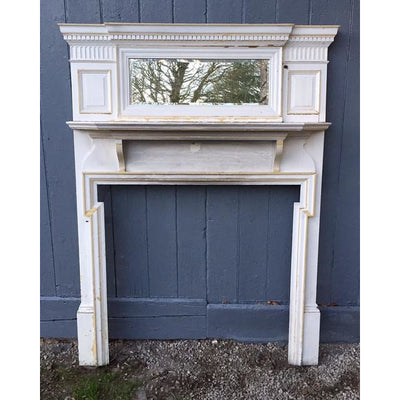 Georgian pine fire surround chimney-piece with over-mantel mirror
