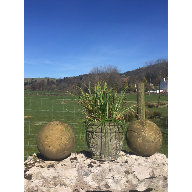 carved stone balls for garden design. classic english garden antiques