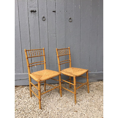 painted faux bamboo regency chairs with rush seats