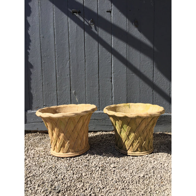 Pair of basket weave terracotta planters