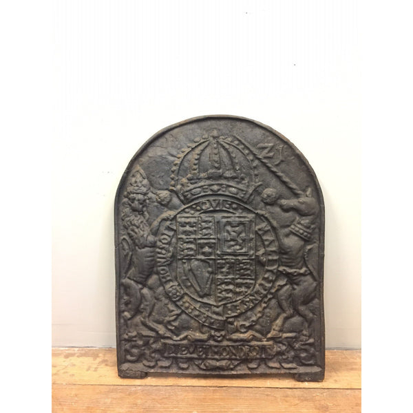 cast iron fire back with the royal coat of arms