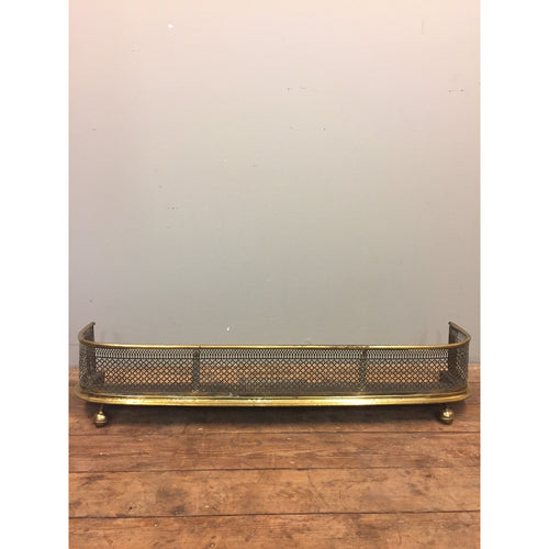 19th C nursery guard or fender, pierced steel and brass.