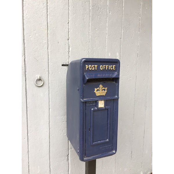deep blue Scottish reproduction Royal mail post box