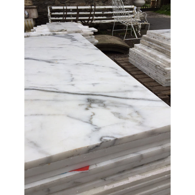 salvaged marble tiles: Statuario venato from carrara