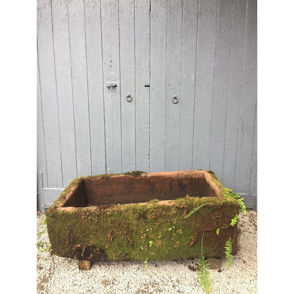 massive mossy red sandstone reclaimed garden trough
