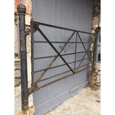 Reclaimed Wrought Iron Estate Gate with Original Posts