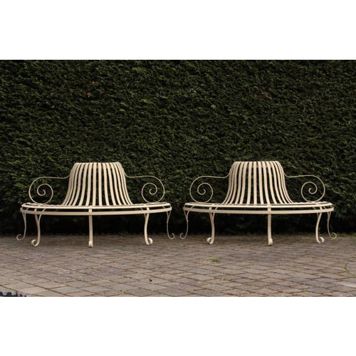 wrought iron strapwork garden bench demi lune antique garden furniture