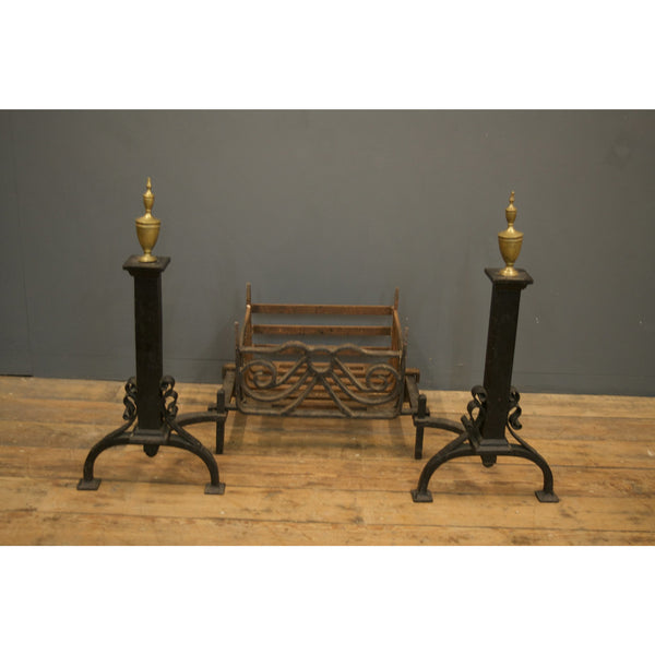 Brass and Cast Iron Fire Dogs
