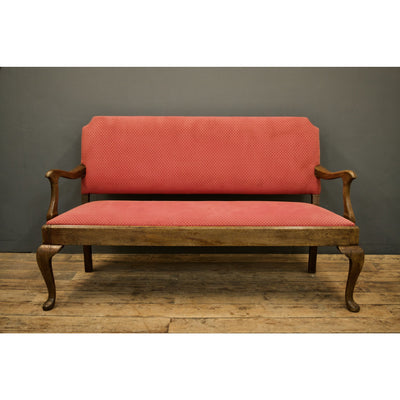 Upholstered Oak Settle