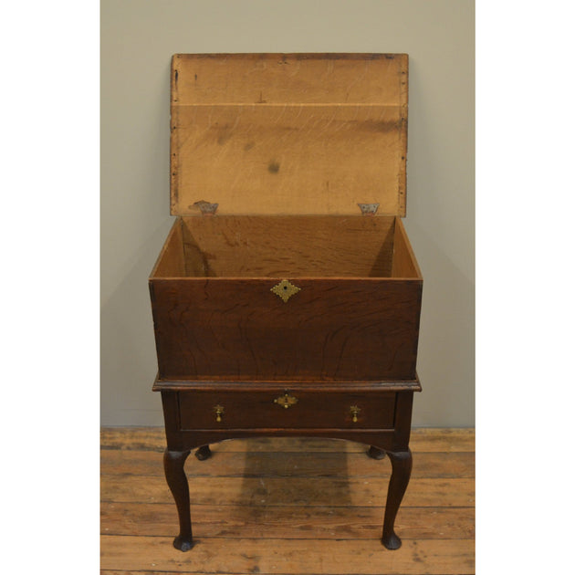 Queen Anne Oak Chest on Stand