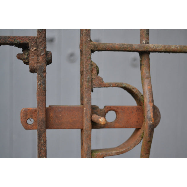 wrought iron latch on a set of victorian dog kennel railings
