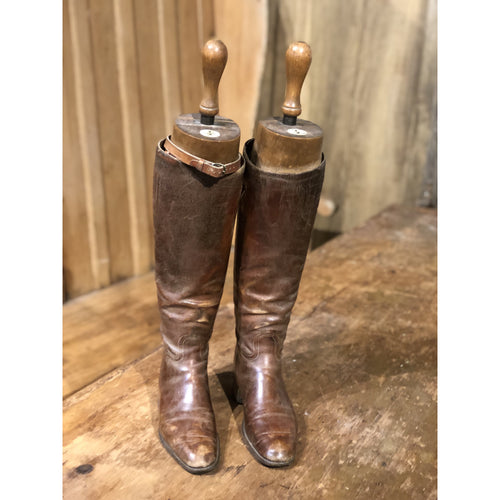 Antique leather riding boots